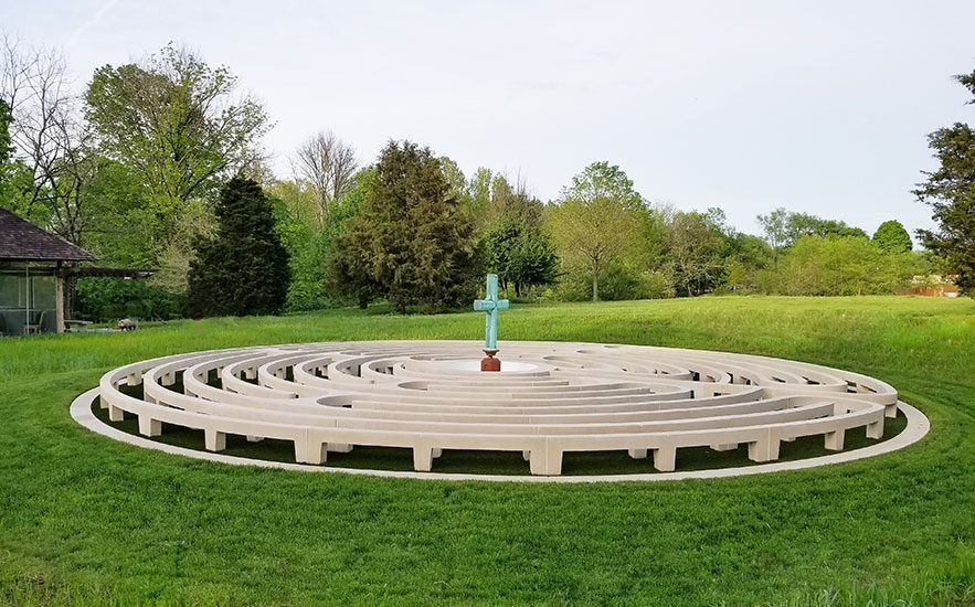 Landscape architecture by Shadley Associates at Kentucky farm, labyrinth
