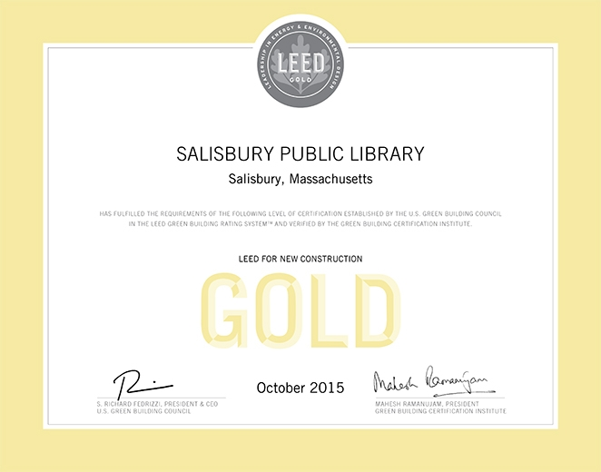 Leed Gold Certification Salisbury Public Library Shadley Associates
